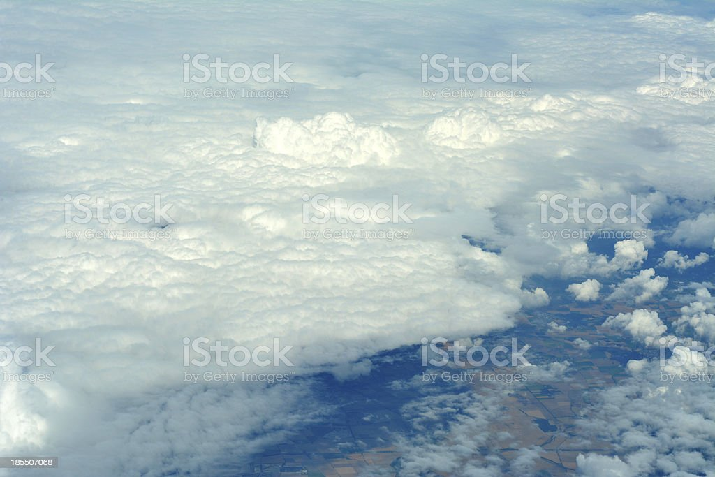 Aerial view of clouds over land royalty-free stock photo