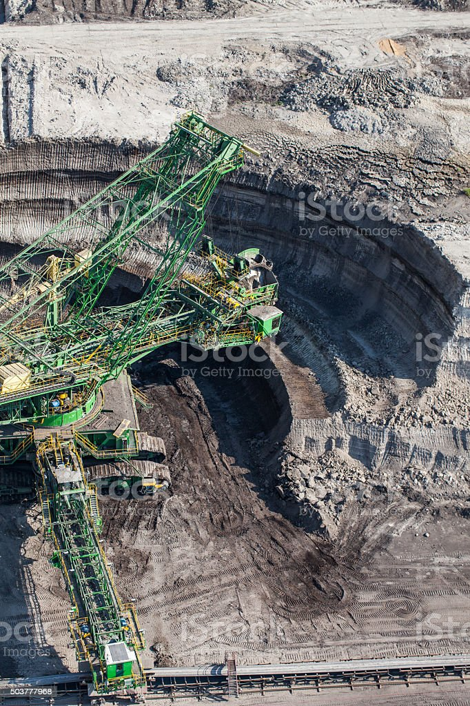 aerial view of coal mine stock photo