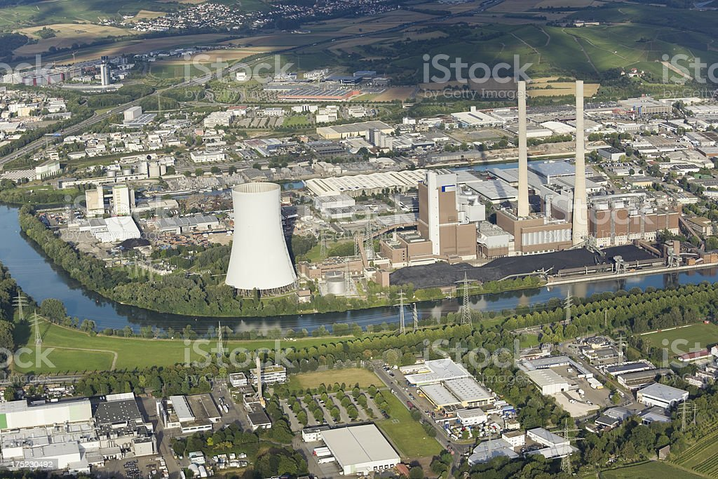 Aerial view of coal power station with cooling tower stock photo