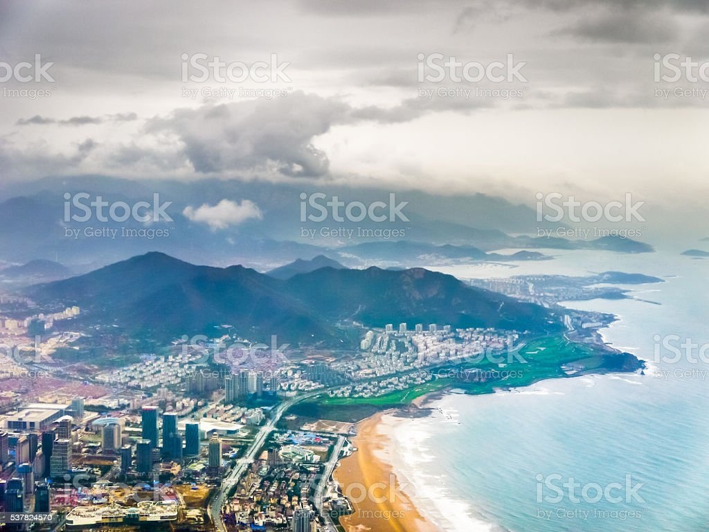 Aerial view of coastal Laoshan District in Qingdao stock photo