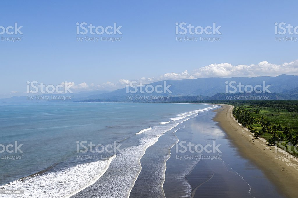 Aerial view of coastline near Dominical, Costa Rica royalty-free stock photo