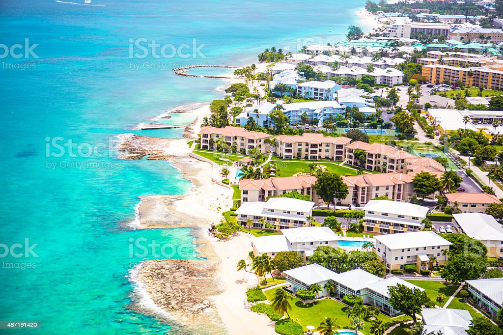 Aerial view of coastline of Grand Cayman, Cayman Islands stock photo