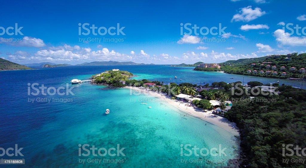aerial view of Coki and Water Bay, St.Thomas, USVI stock photo