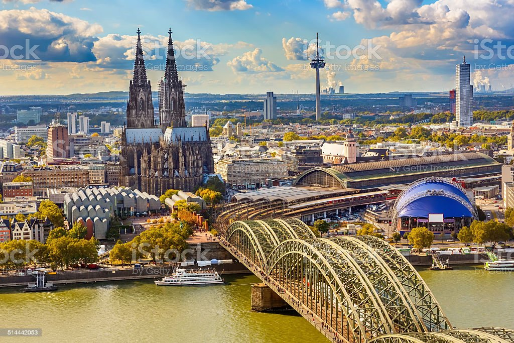 Aerial view of Cologne stock photo