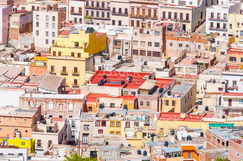 Aerial view of colorful town in Mexico stock photo