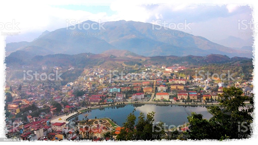 Aerial view of colorful town in Sapa, Vietnam (painting effect) stock photo