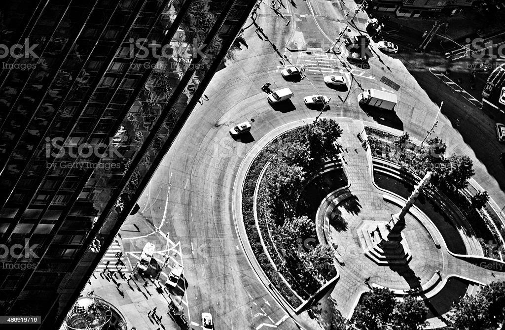 Aerial View of Columbus Circle stock photo