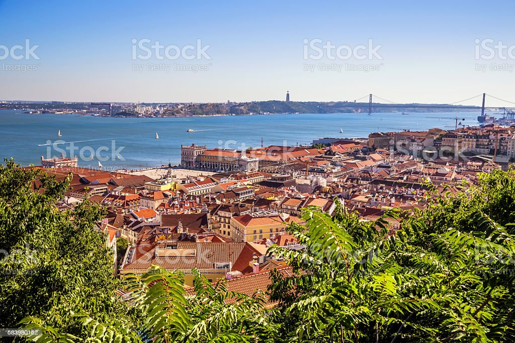 Aerial view of Commerce Square in Lisbon, Portugal stock photo