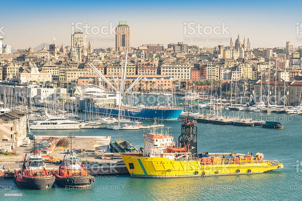 Aerial view of commercial harbour of Genoa, Italy stock photo