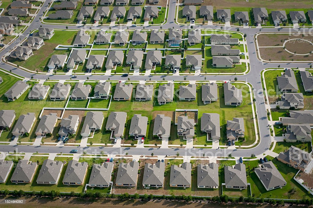 Aerial view of community housing development royalty-free stock photo