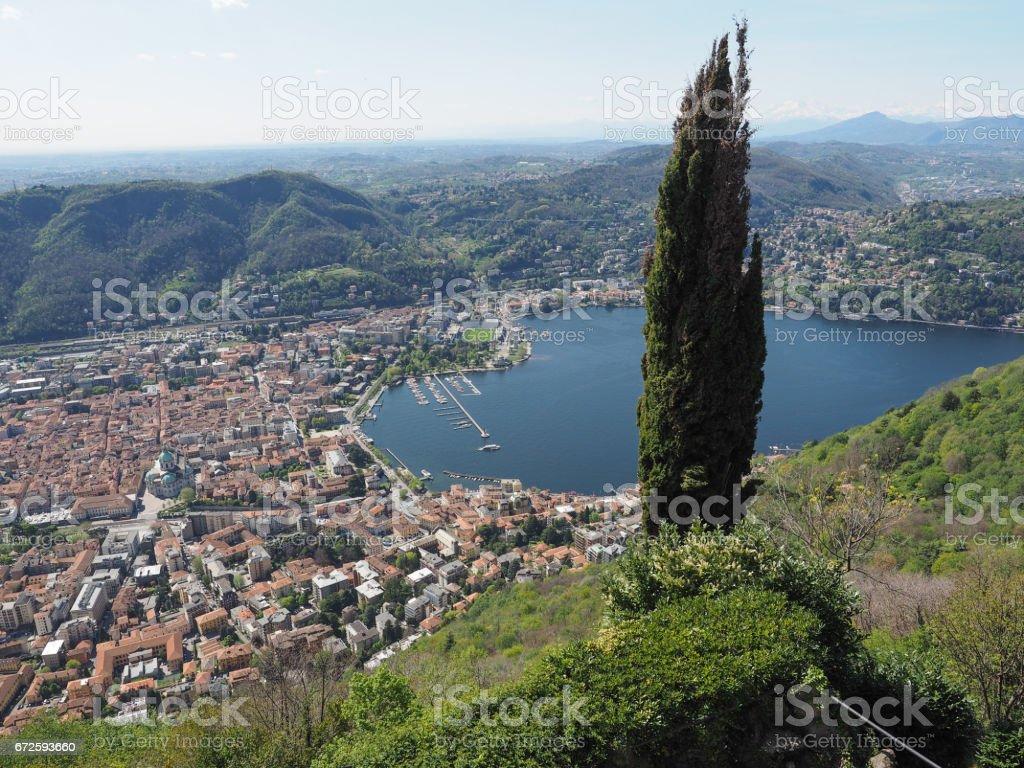 Aerial view of Como stock photo