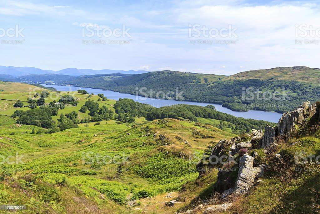 Aerial View of Coniston Water from Beacon Fell stock photo