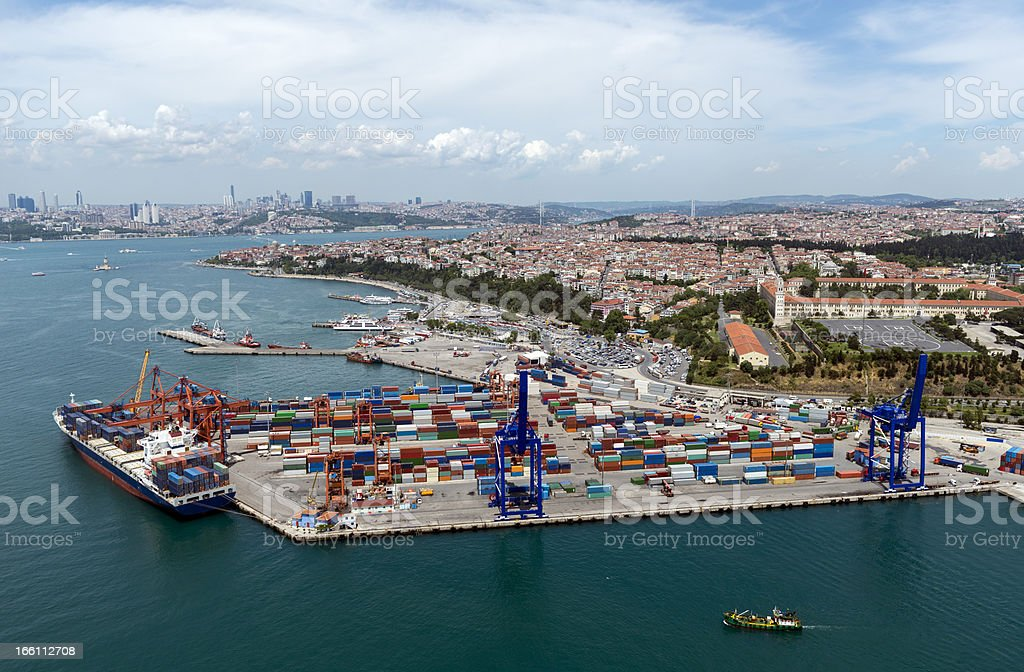 Aerial View of Container Port and Ship royalty-free stock photo