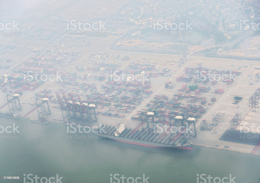 Aerial view of containers and ship stock photo