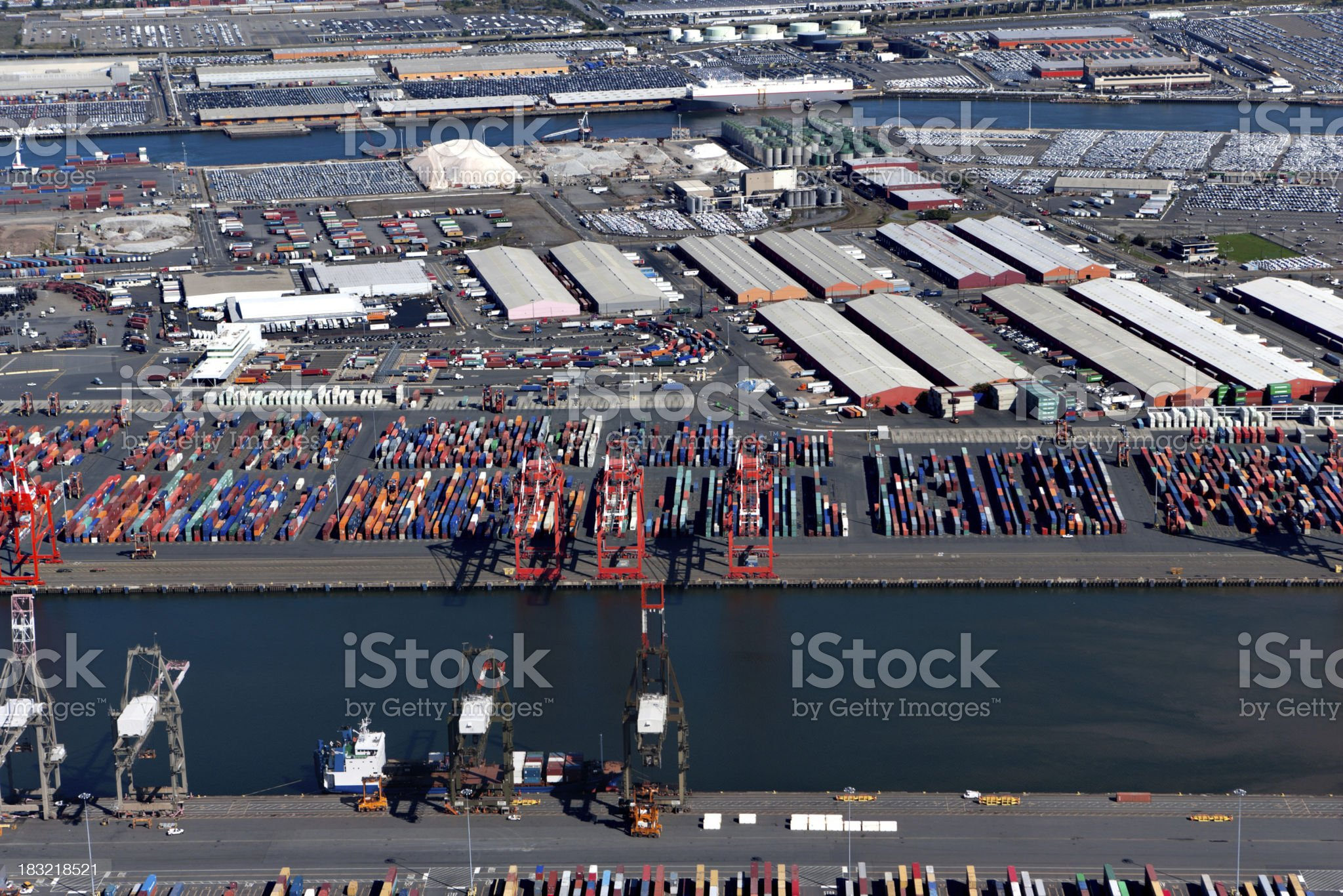 aerial view of containers on dock in new jersey royalty-free stock photo