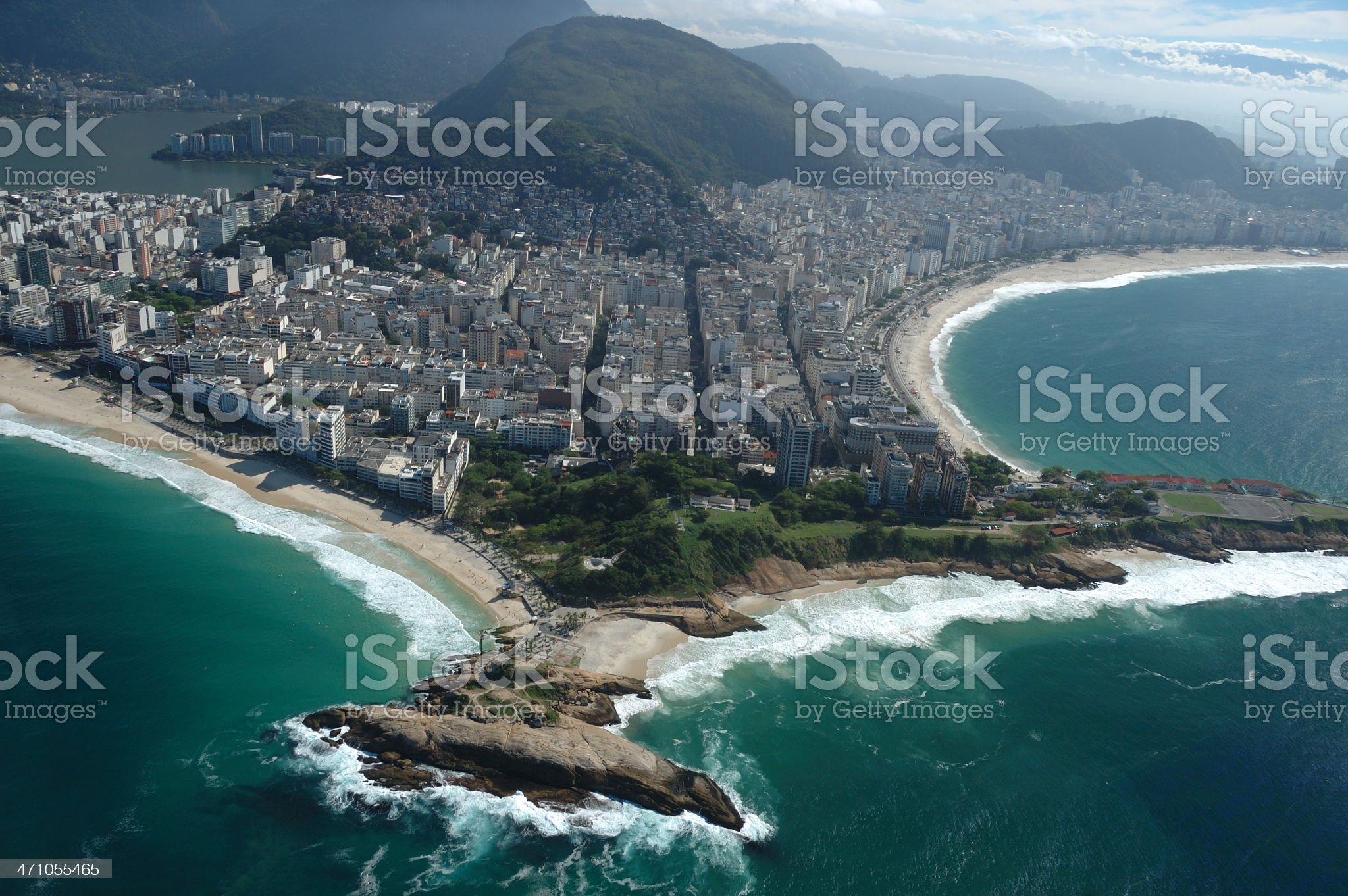 Aerial View of Copacabana and Ipanema beaches in Rio royalty-free stock photo