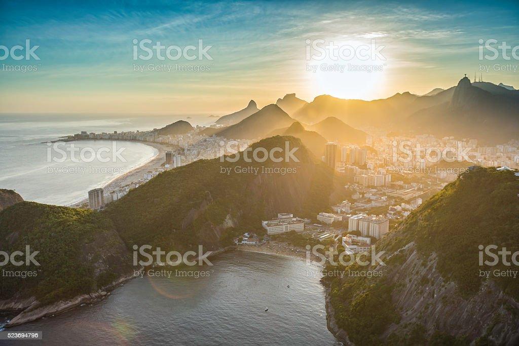 Aerial view of Copacabana at sunset in Rio de Janeiro stock photo