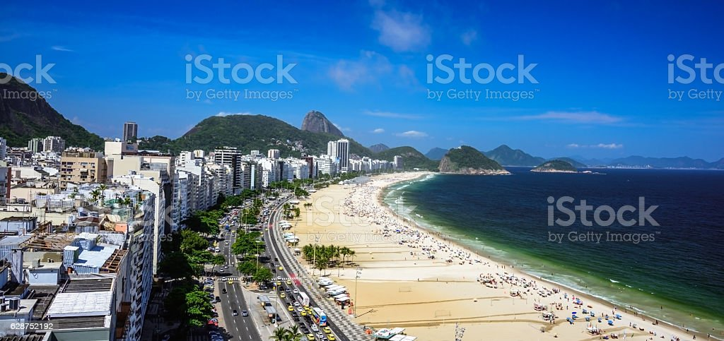 Aerial view of Copacabana Beach and Sugarloaf Mountain stock photo