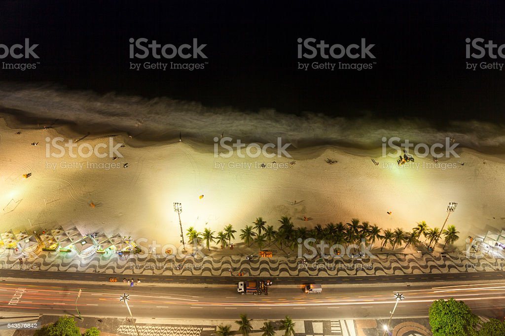 Aerial view of Copacabana Beach at night, Rio de Janeiro stock photo