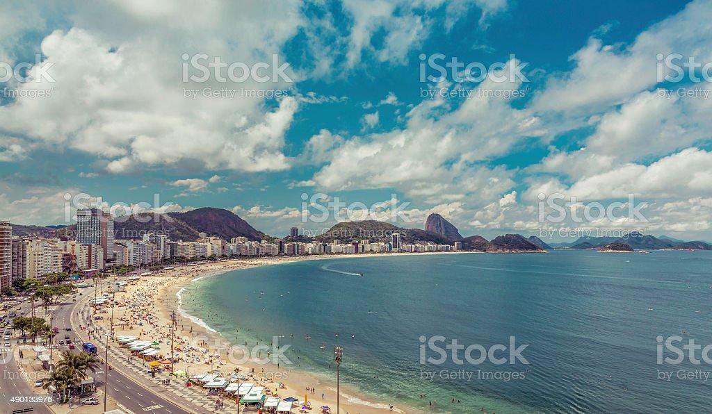 Aerial view of Copacabana Beach in  Rio de Janeiro, Brazil stock photo