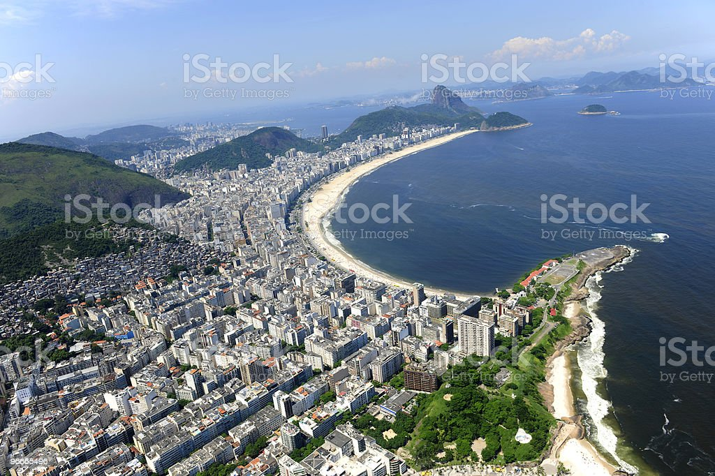 Aerial view  of Copacabana beach in Rio de Janeiro, Brazil. royalty-free stock photo