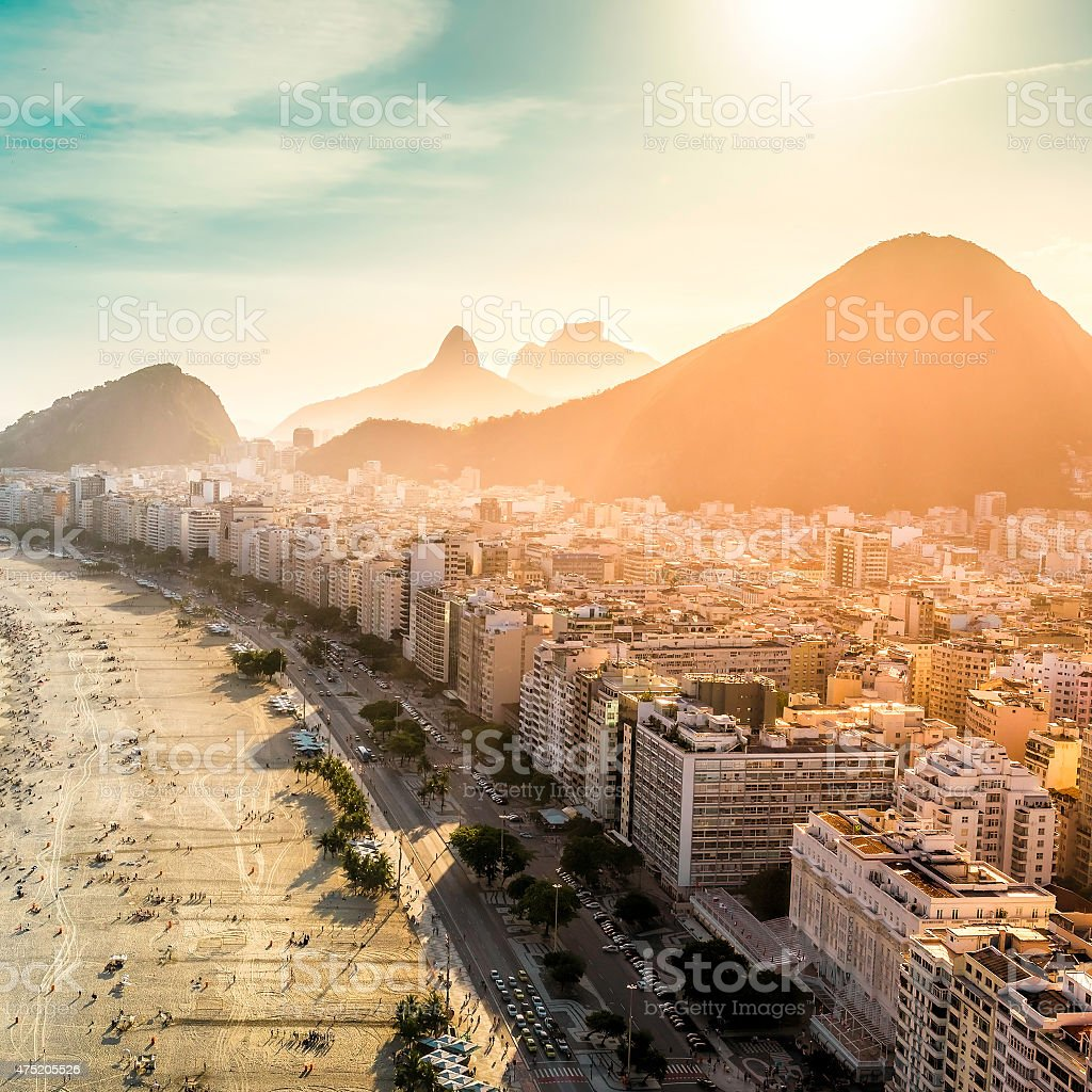 Aerial view of Copacabana Beach in Rio de Janeiro stock photo