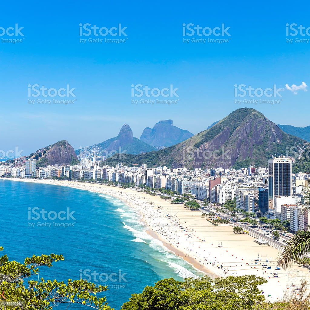 Aerial view of Copacabana Beach in Rio de Janeiro stock photo