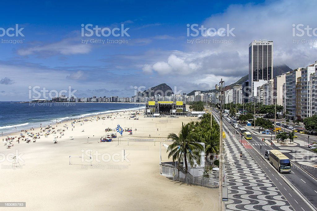 Aerial view of Copacabana Beach royalty-free stock photo
