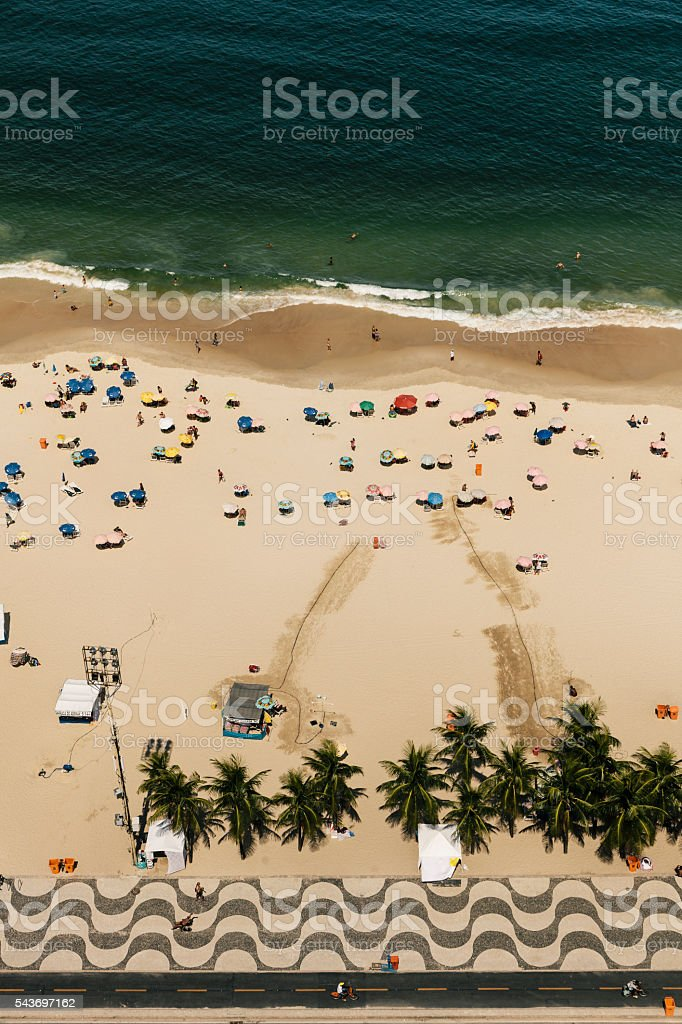 Aerial view of Copacabana Beach stock photo