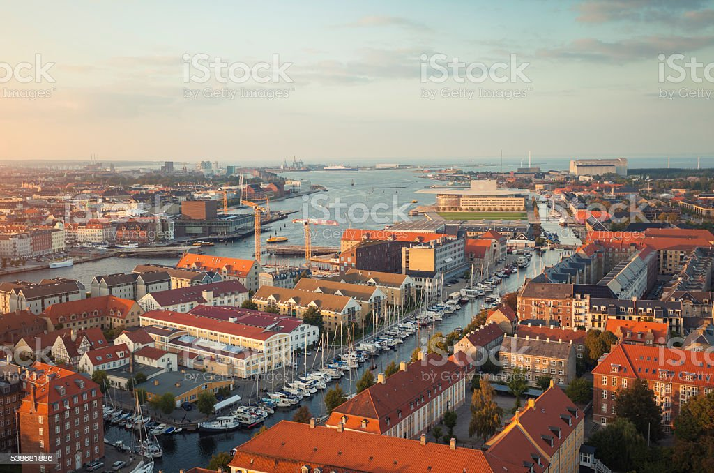Aerial view of Copenhagen, Denmark stock photo