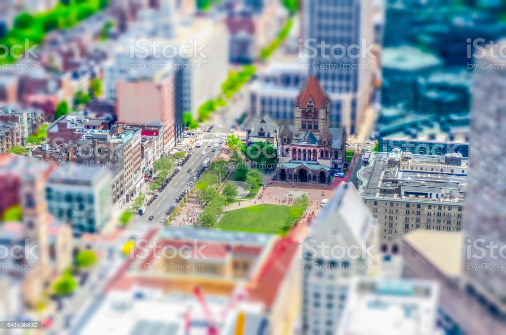 Aerial View of Copley Square, Boston, USA. Tilt-shift effect applied stock photo