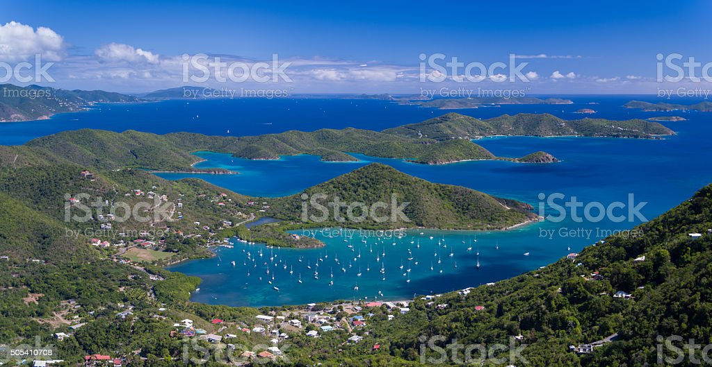 aerial view of Coral Bay, St.John in US Virgin Islands stock photo