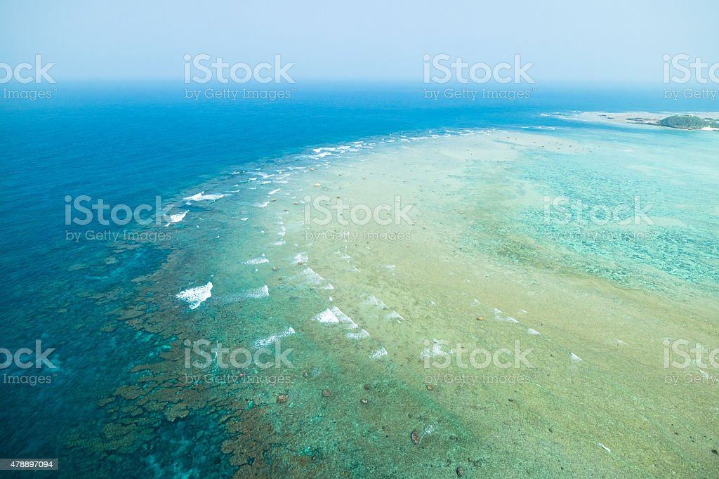 Aerial view of coral reef with clear tropical water, Japan stock photo