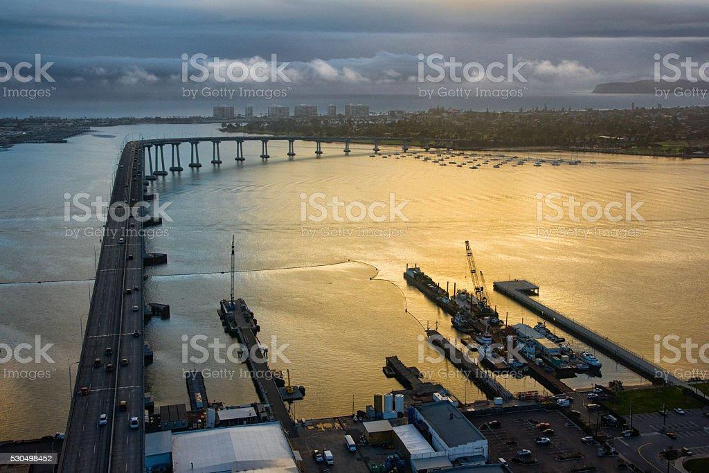 Aerial View of Coronado and the Bay Bridge at Dusk stock photo