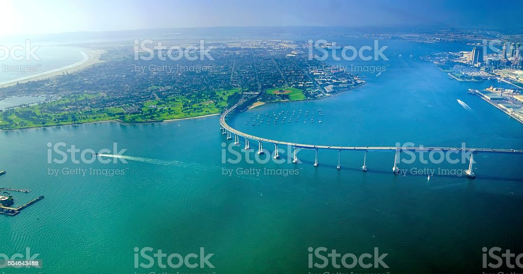Aerial view of Coronado Island, San Diego stock photo