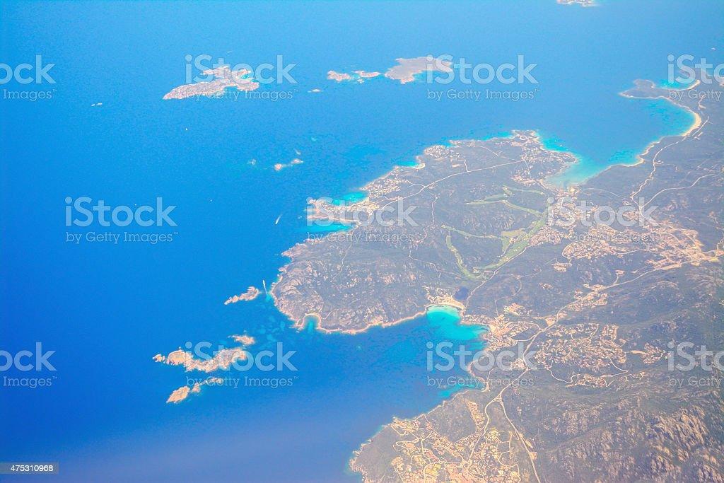 aerial view of costa smeralda coastline stock photo