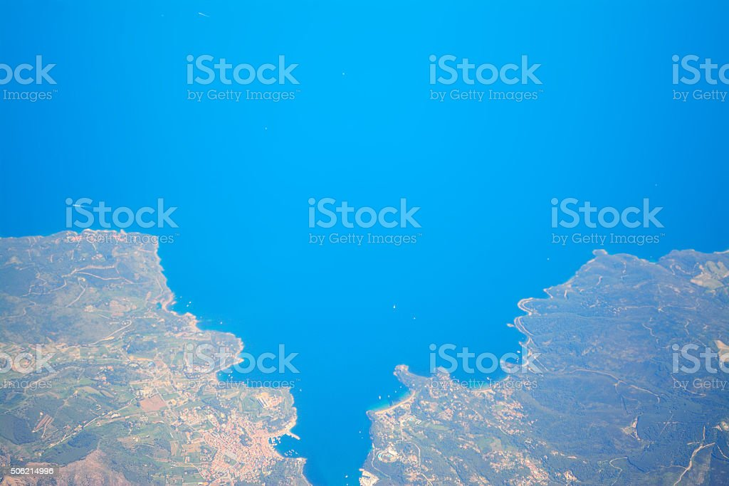 aerial view of costa smeralda stock photo