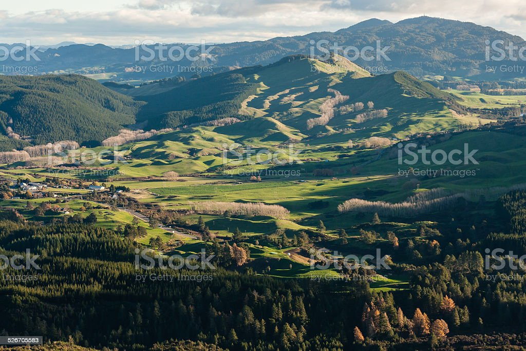 aerial view of countryside around Rotorua stock photo