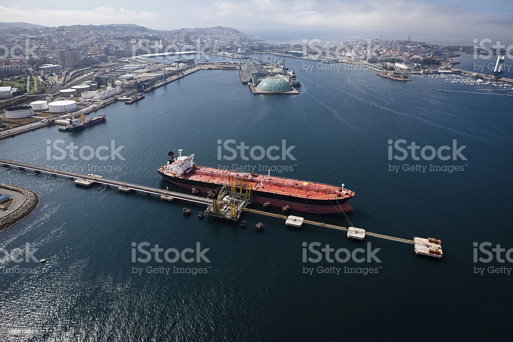 Aerial view of crude oil and storage tanks in the water stock photo