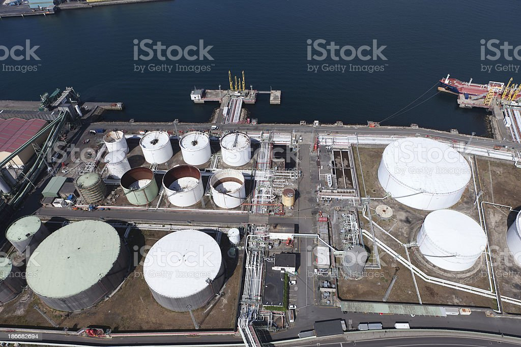 Aerial View of Crude Oil Tanker and Storage Tanks royalty-free stock photo