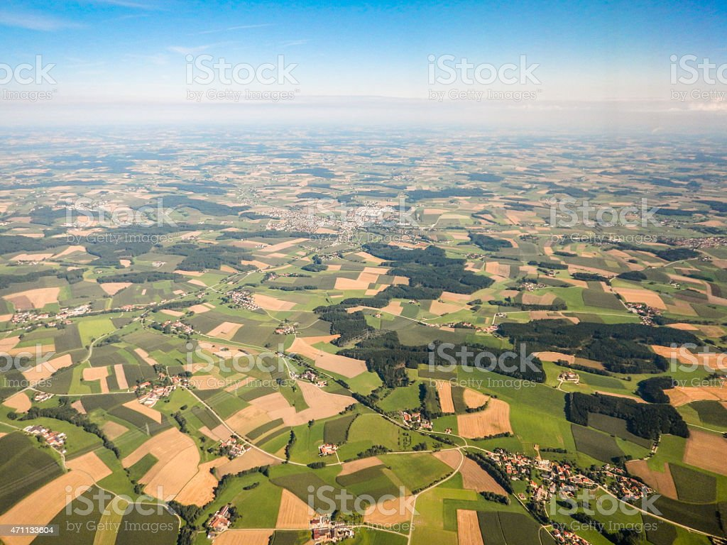 Aerial view of cultivated land on derbyshire stock photo