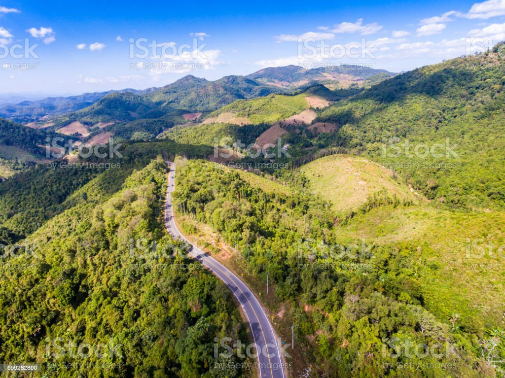 Aerial view of curve road and mountain stock photo