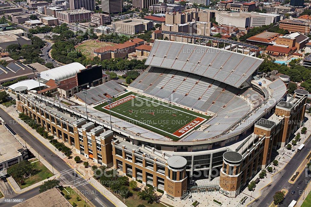 Aerial view of  Darrell K. Royal Texas Memorial Stadium stock photo