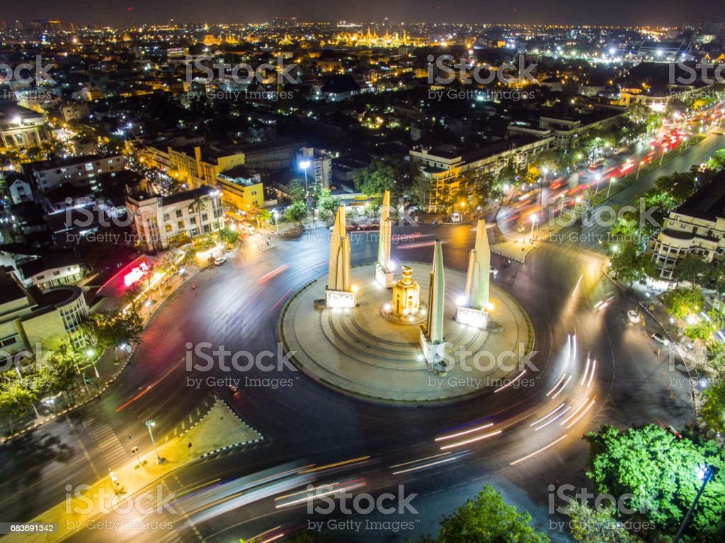 Aerial view of democracy monument. stock photo