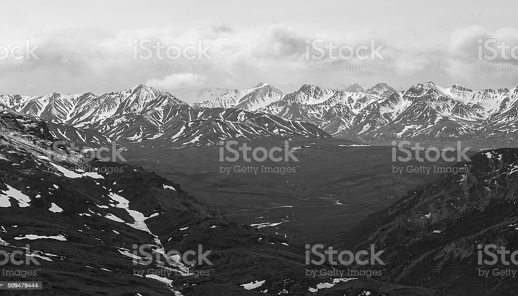 Aerial View of Denali stock photo