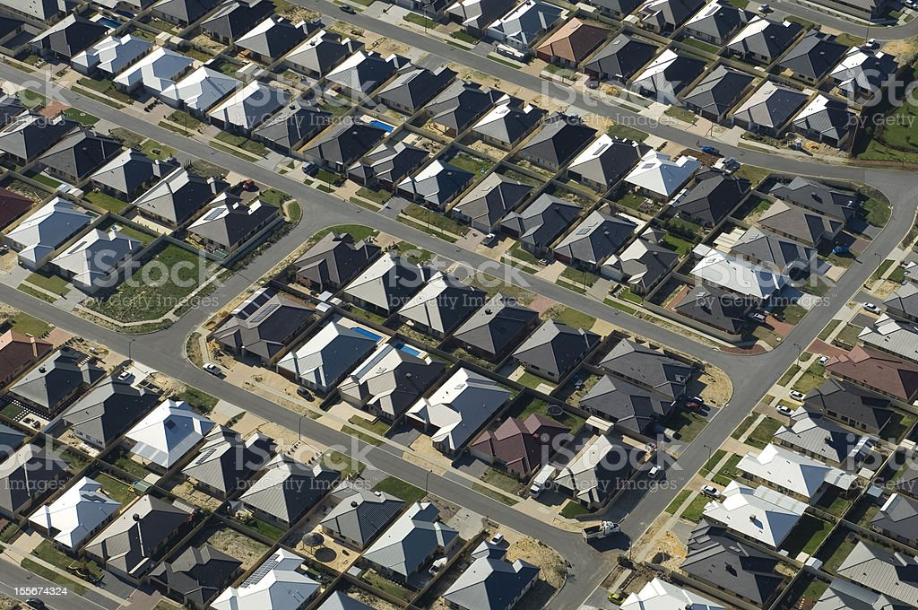 Aerial view of dense suburban housing. stock photo