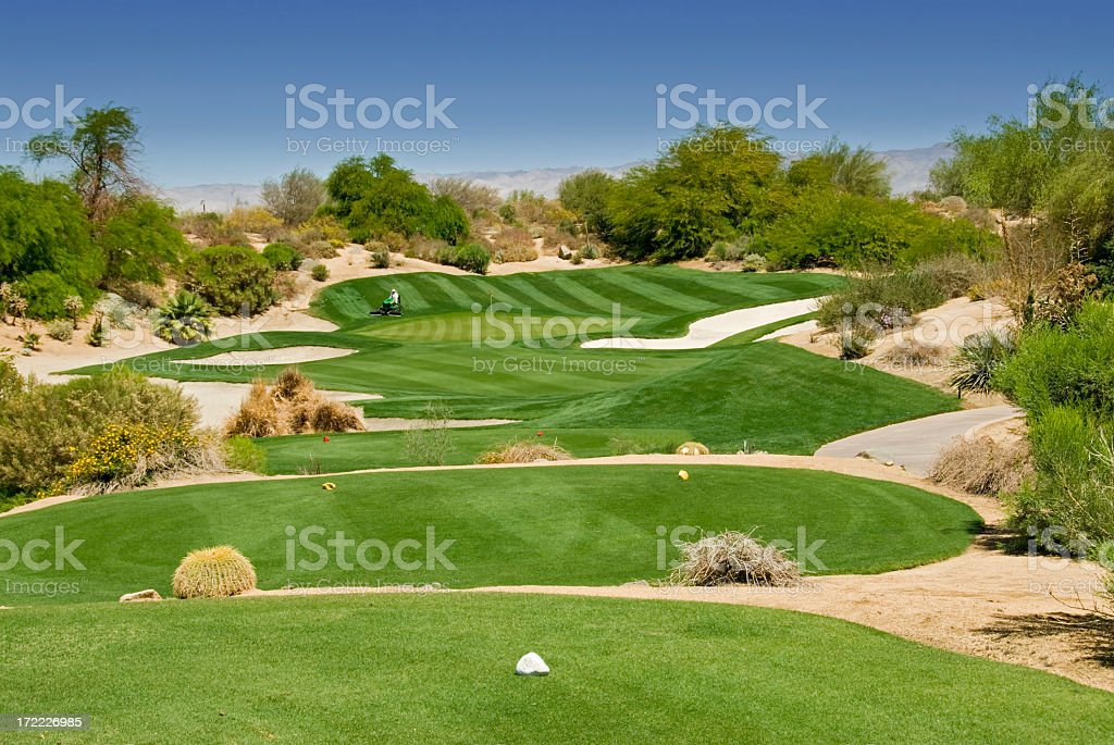 Aerial view of desert golf course at daytime stock photo
