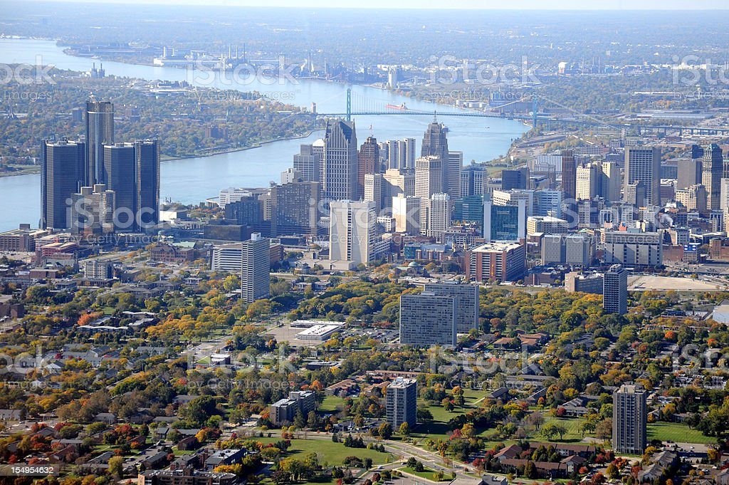 Aerial View of Detroit, Michigan USA stock photo