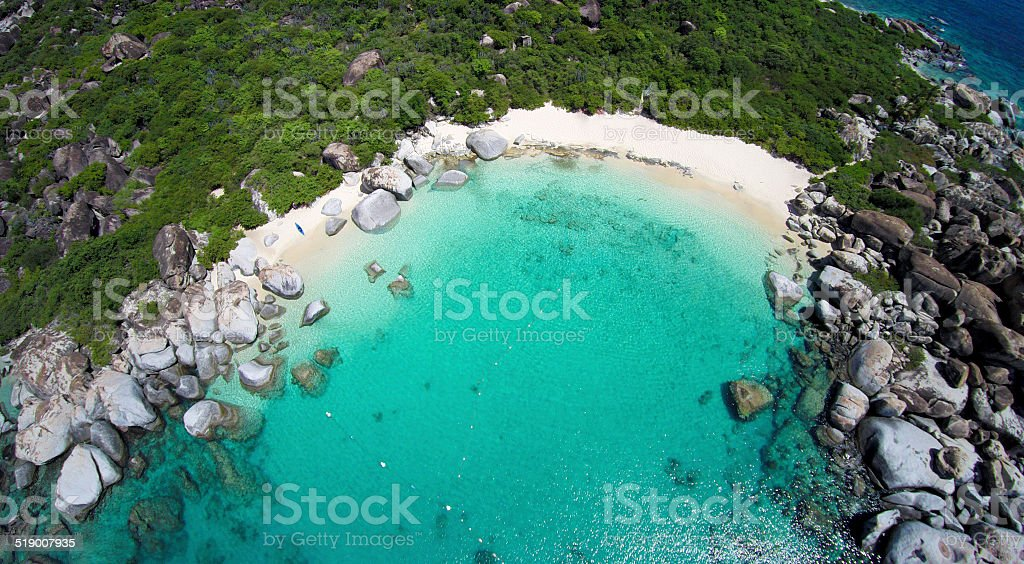 aerial view of Devil's Bay, Virgin Gorda, BVI stock photo