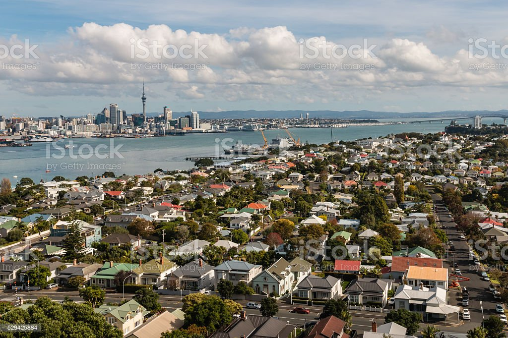 aerial view of Devonport with Auckland skyline stock photo